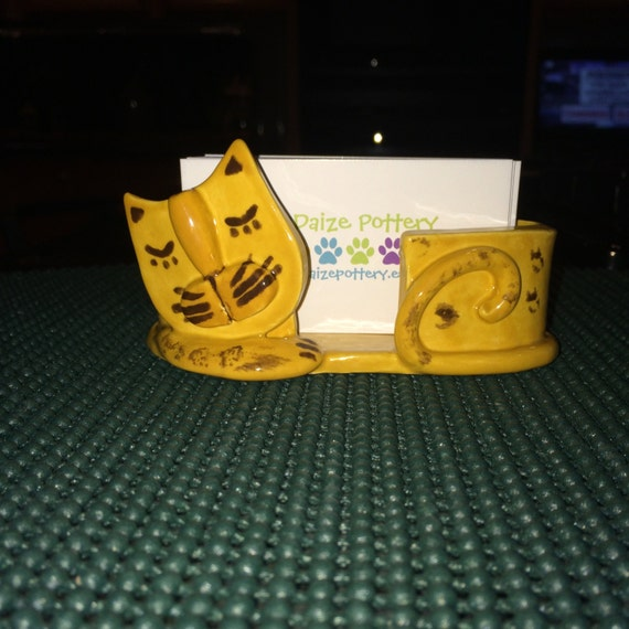 Sleeping cat business card holder for Cat business card holder