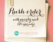 RUSH service with priority mail and insurance included for ONE STAMP order (domestic order only)