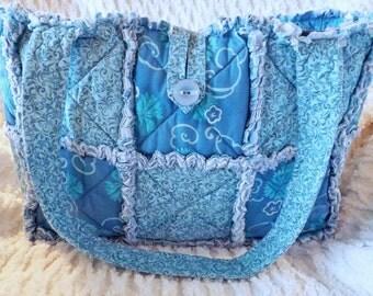 Rag Quilt Diaper Bag - Aqua Blue - Floral - Swirls - Handmade
