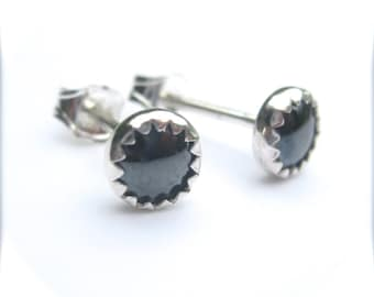 Hematite Stud Earrings, Gray Studs, Mens Stud Earrings, Hematite Earrings