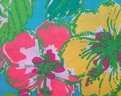 "lilly pulitzer's shorely blue big flirt poplin cotton fabric square 18""x18"""