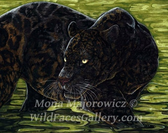 Black Panther Art, Dark Waters - black panther print, wild cat art, big cat art, black panther painting, jungle room decor, safari decor