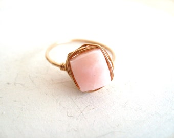 Opal Ring Stacking Ring Pink gemstone solitaire ring October birthstone jewelry Under 45 Valentines Day Vitrine Rings
