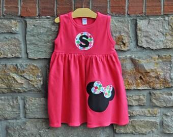 Make Mine Minnie Hot Pink-  Monogram Personalized Dress - 12m-8 years - Julianne Originals
