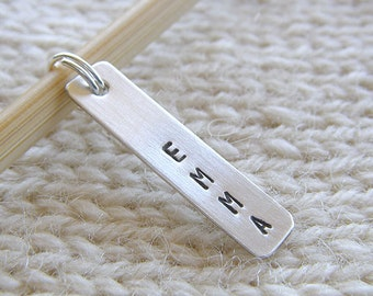 """Personalized Knitting / Crochet Stitch Markers - Hand Stamped Sterling Silver - 1"""" Bar Stitch Markers in 6 Styles - Knitters Gift"""
