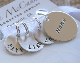 Personalized Knitting / Crochet Stitch Markers - Custom Hand Stamped Sterling Silver Removable Markers - Disc Stitch Marker Gift Set