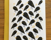 Grackle Black Birds and Birdseed Blank A6 Greeting Card