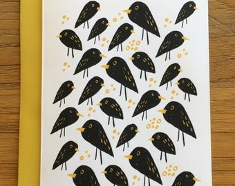 Grackle Black Birds and Birdseed Blank A6 Greeting Card