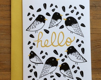 Hello Graphic Bird Illustrated A6 Greeting Card