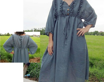 Custom Made Sweet V neck Boho  Blue Cotton Knee length Summer   Dress S-L (H)