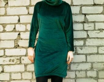 Green velvet dress, japanese style longsleeve dress, big cowl dressneck Autumn dress, warm dress, gothic dress, boho dress, hippy dress MASQ