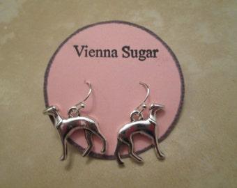 Silver Greyhound, Whippet, Italian Greyhound Dog Dangle Earrings