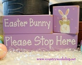Easter Bunny Shelf Sitter Sign Blocks Hand Painted Bunny Home Decor Stacking Blocks
