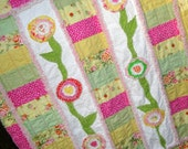"Handmade Rag Quilt  Shabby Flowers Pink, Yellow, Greens, Orange Toddler Bedding ""Pink Lemonade"""