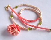 Gorgeous Peony Flower necklace w Peridot leaves Gold Vermeil, Romantic delicate Feminine, Shell salmon pink Coral green chic happy dainty