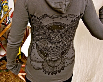 Owl Celtic Tree Grey Stretchy Cotton Hoodie Sm, M, L