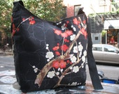 Cotton Print Black Cherry Blossom Cross Body Shoulder Messenger Bag, Asian Print Hobo Sling Market Bag