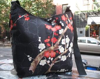 Cotton Print Black Cherry Blossom Cross Body Shoulder Messenger Bag, Asian Print Hobo Sling Market Bag