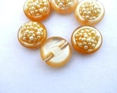 6 Vintage plastic buttons in beautiful color with ivory pearls 23mm for button jewelry