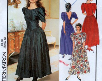 Ladies 90s Dress 6 Sizes Sewing Pattern Panelled Bodice Puff Sleeves Style 1984 Uncut