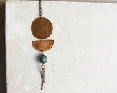 Aztec long necklace in brass, green gemstone and fringes, ethnic necklace