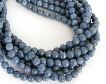 10mm Blue Coral Beads, Blue Sponge Coral, 15 Inch Full Strand, Round Coral Beads, Cor206