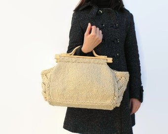 SALE - Trapeze Tote Bag Knit in Beige Cotton - Summer Bag