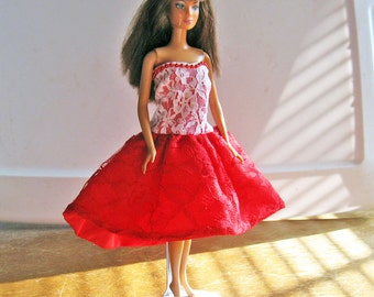 Barbie Red and White Strapless Party Dress