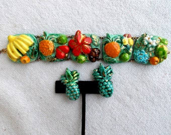 Fun and Colorful Vintage ceramic chunky fruit bracelet and earrings set 1950s