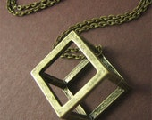 Long Open Cube Necklace Fashion Jewelry Geometric Jewelry Fun 3d Jewelry for Young Fashionistas