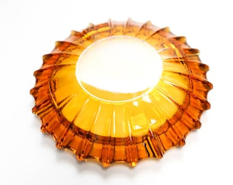 1970s 1960s Heavy Golden Amber Large Ash Tray Plate Retro