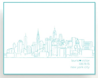 Personalized City Skyline Wall Art | Hand Drawn | Unique Gift Idea Housewarming Wedding Bridal Shower Skyline or NY Poster Tree Free
