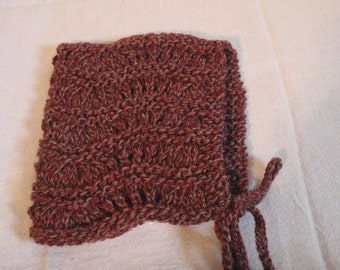 Knit Baby Hat or Bonnet- Red Superfine Merino