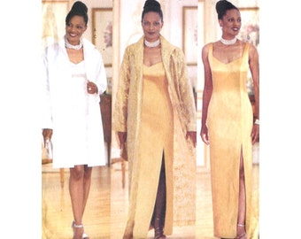 Womens Fitted Evening / Cocktail Dress and Duster - Princess Seams / Two Lengths - Sewing Pattern Butterick 5881 - Size 14-16-18 Uncut