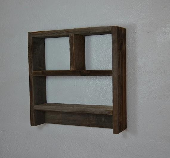 Natural Patina Wood Shadow Box Style Wall Shelf By Barnwood4u