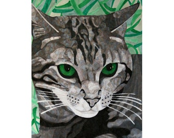 Custom Cat Portrait From Photo, Black and White with Colorized Eyes, Digital Download, DIY Printing, Inklets
