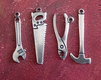 NEW 4 Silver Tool Charms 3667