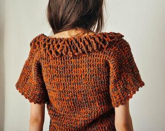 Vintage Orange & Gray Knit Top