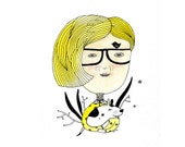 Hipster Illustration, Blond Girl Original Drawing, Girl and Dog Wall Art