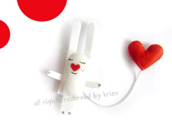 Valentines Day - Bunny Brooch - White Bunny Red Heart. White Bunny Brooch.