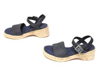 size 6 PLATFORM woven blue 60s 70s ESPADRILLE jute peep toe WEDGE sandals