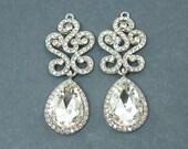 Silver Tear Drop Crystal Glass Ornate Earrings Wedding Jewelry Clear Rhinestone Findings Bridal Silver Teardrop Wedding Supply  S3-7 2M