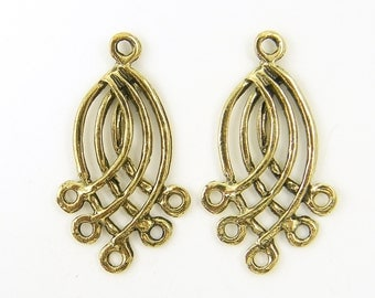 Antique Gold Chandelier Earring Findings Curved |AN1-8|2