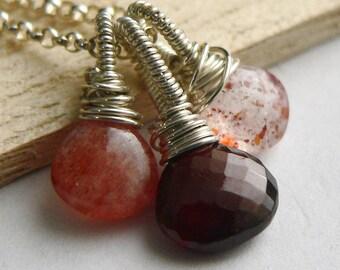 Sunstone Pendant, Garnet Pendant, Sterling, Bundle Necklace, Sterling Silver Necklace, Sterling Silver, Sunstone
