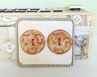 Stoneware Ceramic Buttons - Shino Glaze on White Clay - Random Text - Set of 2