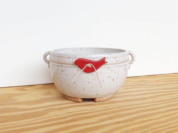 Stoneware Ceramic Planter Pot in Glossy White Glaze - Speckled - Red Bird Decoration