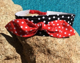 Lucy Sassy Headband with Removable Red Polka Dot Dolly Bow, Pinup, Retro, Rockabilly, Free Shipping in USA