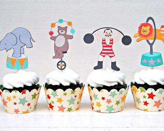 The CIRCUS CARNIVAL Collection - Custom Cupcake Toppers