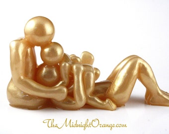 The Kiss That Keeps On Giving - Family of three clay sculpture with mom dad and toddler  - made to order