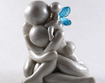Always - grieving parents with angel baby sculpture - child loss memorial gift of remembrance with mother father and infant made to order
